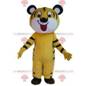 Maskottchen gelber und schwarzer Tiger. Katzenmaskottchen -