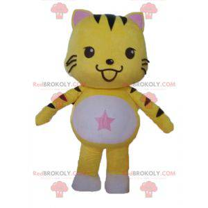 Black and white yellow cat mascot. Kitten mascot -