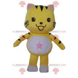 Svart og hvit gul kattemaskot. Kattunge maskot - Redbrokoly.com