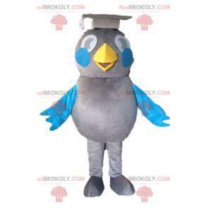Graues und blaues Vogelmaskottchen. Absolvent Maskottchen -