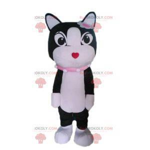 Černá a bílá kočka maskot. Maskot kotě - Redbrokoly.com
