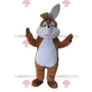 Søt og søt brun og hvit kaninmaskot - Redbrokoly.com