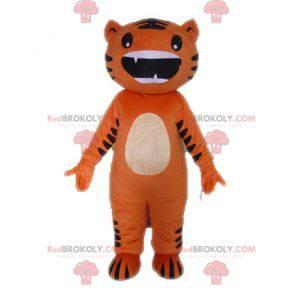 Zábavný a originální maskot oranžové a černé kočky -