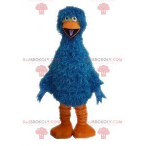 Haariges und lustiges blaues und orange Vogelmaskottchen -