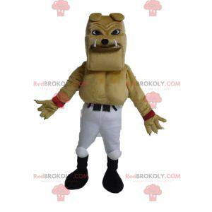 Giant and muscular beige bulldog mascot - Redbrokoly.com