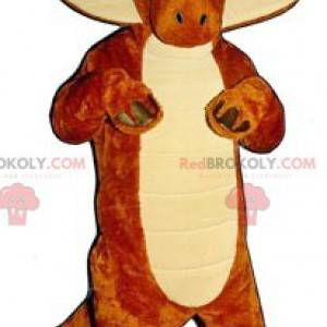 Orange and white dinosaur mascot - Redbrokoly.com