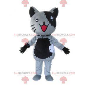 Gray and black plush cat mascot - Redbrokoly.com