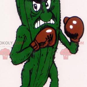 Divoký zelený okurkový maskot s Boxerské rukavice -