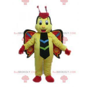 Butterfly maskot gul rød og sort - Redbrokoly.com