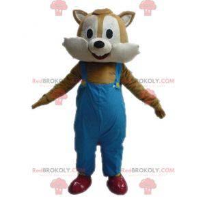 Brązowy i beżowy wiewiórka maskotka w kombinezonie -
