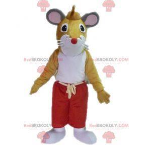 Maskot hnědá a bílá myš. Maskot obří krysy - Redbrokoly.com