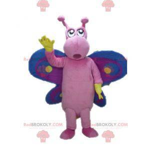 Engraçado e colorido mascote de borboleta rosa roxa e azul -