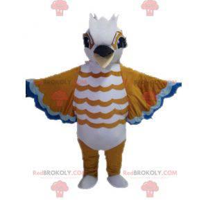 Hnědý bílý a modrý pták maskot - Redbrokoly.com