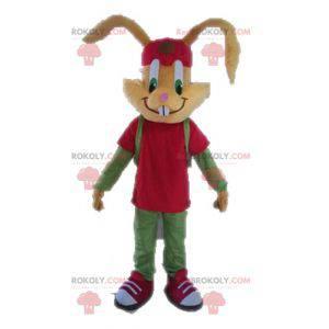 Hnědý králík maskot oblečený v červené a zelené - Redbrokoly.com