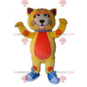 Maskot velká kočka žlutá a oranžová roztomilý a barevný -