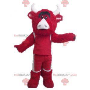 Rot-Weiß-Bullenmaskottchen. Chicago Bulls Maskottchen -