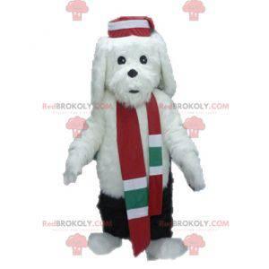 Měkký a chlupatý bílý a černý pes maskot - Redbrokoly.com