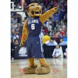 Brązowy tygrys maskotka wyglądający zaciekle - Redbrokoly.com
