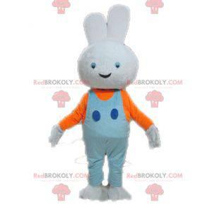 Maskot bílý králík s modrým overalem - Redbrokoly.com