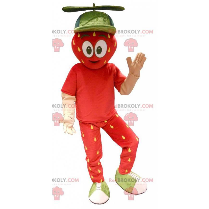 Rød og gul gigantisk jordbærmaskot - Redbrokoly.com