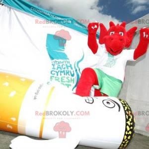 Maskottchen roter Kobold mit Krallen - Redbrokoly.com