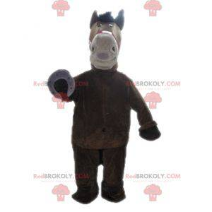 Gigantyczna brązowo-beżowa maskotka konia - Redbrokoly.com