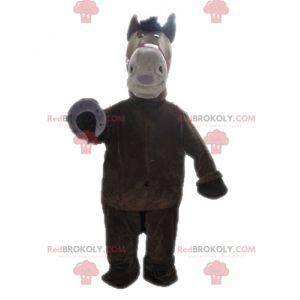 Obří hnědý a béžový maskot koně - Redbrokoly.com