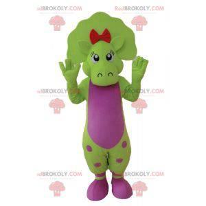 Zelený a růžový maskot dinosaura s tečkami - Redbrokoly.com