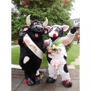 2 maskoti černého býka a černobílé krávy - Redbrokoly.com