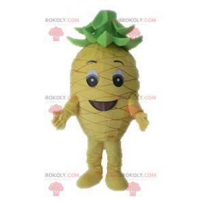 Gigantisk gul og grønn ananas maskot. Fruktmaskott -