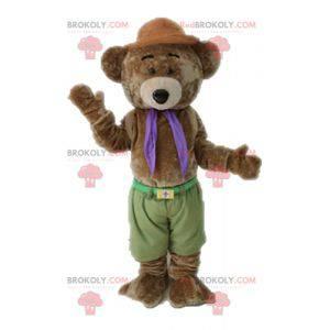 Měkký a roztomilý hnědý medvídek maskot - Redbrokoly.com