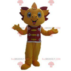 Yellow and red dragon mascot. Smiling mascot - Redbrokoly.com