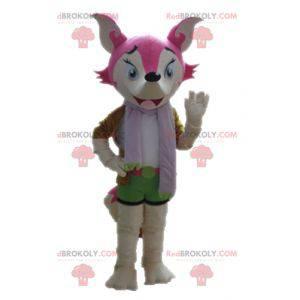 Maskot růžové a bílé lišky ženské a barevné - Redbrokoly.com
