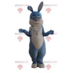 Plně přizpůsobitelný maskot modrého a bílého králíka -