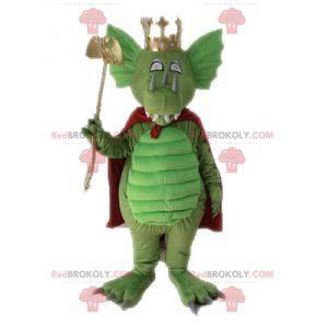 Zelený drak maskot s červeným pláštěm - Redbrokoly.com