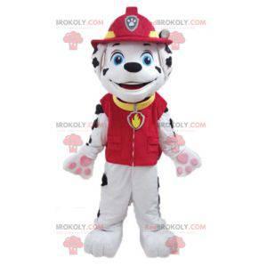 Dalmatinisches Hundemaskottchen in Feuerwehruniform -