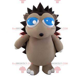 Šedý a hnědý maskot ježka s pěkně modrýma očima - Redbrokoly.com