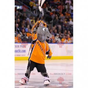 Gray colt donkey mascot with an orange mane - Redbrokoly.com