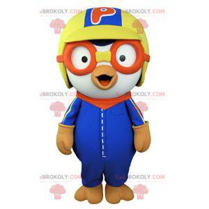 White bird mascot dressed in colorful aviator outfit -