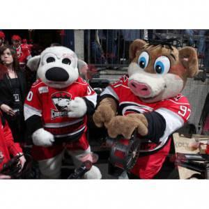 2 mascots a gray dog and a brown and white pig - Redbrokoly.com