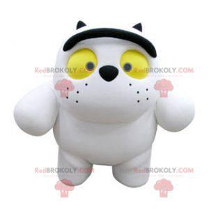 Pralles und niedliches weißes und schwarzes Katzenmaskottchen -