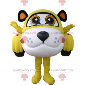 Car mascot shaped like a tiger yellow white and black -