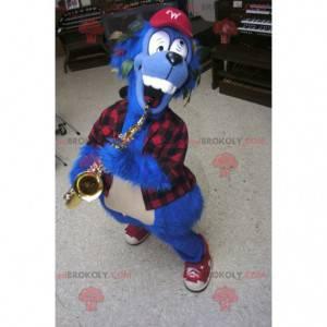 Verrücktes blaues Hundemaskottchen mit einem karierten Hemd -