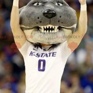 Maskotka głowa psa szary kot - Redbrokoly.com