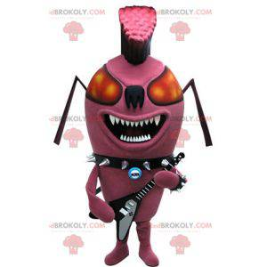 Mascote da formiga rosa inseto punk. Mascote do rock -