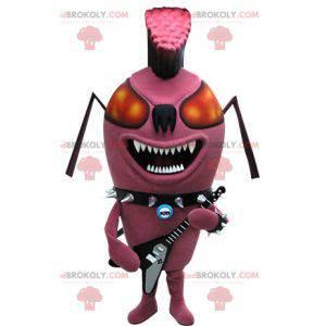 Mascotte di formica rosa insetto punk. Mascotte rock -