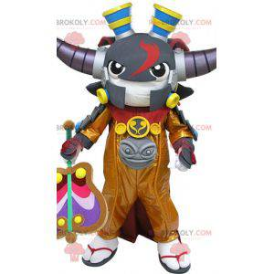 Samurai maskot med horn. Videospillmaskott - Redbrokoly.com