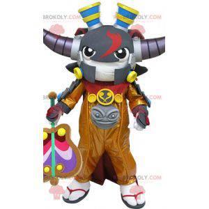 Samurai-Maskottchen mit Hörnern. Videospiel Maskottchen -
