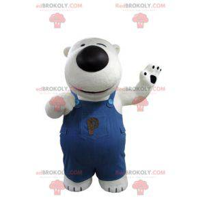 Eisbärenmaskottchen und schwarz mit Overall - Redbrokoly.com