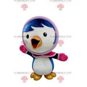 Modré a bílé ptačí maskot v zimní oblečení - Redbrokoly.com